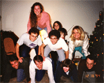 David Kingsley's Lab Making A Human Pyramid at His Home in 1994.
