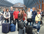 David KIngsley's stickleback crew returning from Leicester meeting in London station in 2009.